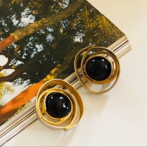 Gold & Black Mixed Metal Vintage Clio On Earrings